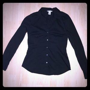 H&M Black cotton button down - Size 6